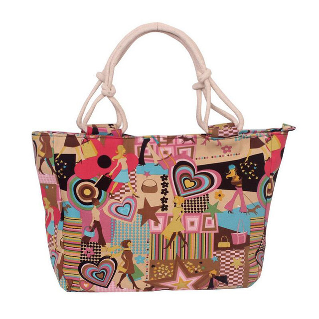 2017 Fashion Folding Women Big Size Handbag Tote Ladies Casual Flower Printing Canvas Graffiti Shoulder Bag Beach Bolsa Feminina