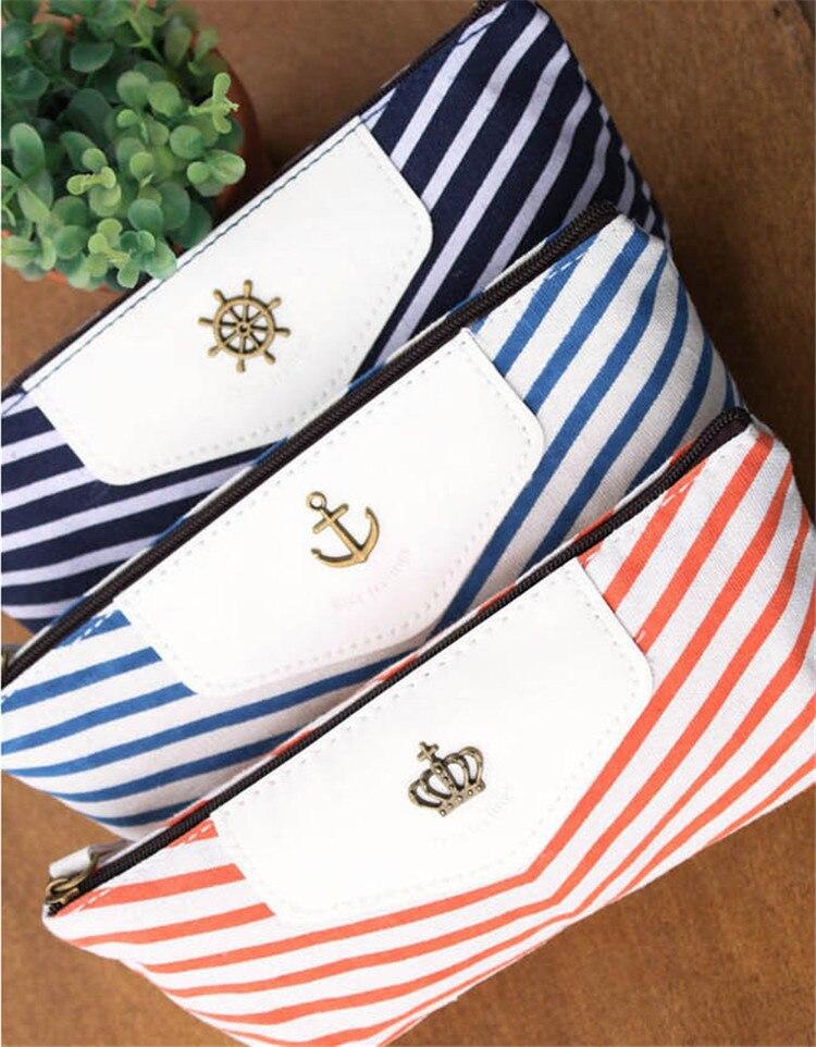 300 Pcs Canvas Navy Marine Stripe Style Pencil Case Zipper Pouch Bag Pen Box
