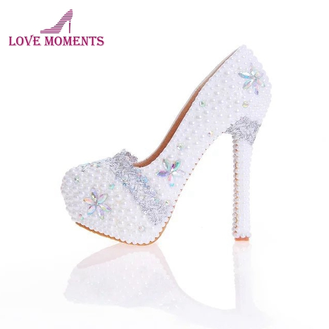 d3df6454935 Handmade Pearl Bridal Weding Shoes White Color with AB Crystal Women Dress  Shoes For Ceremony Cinderella Prom Pumps Plus Size