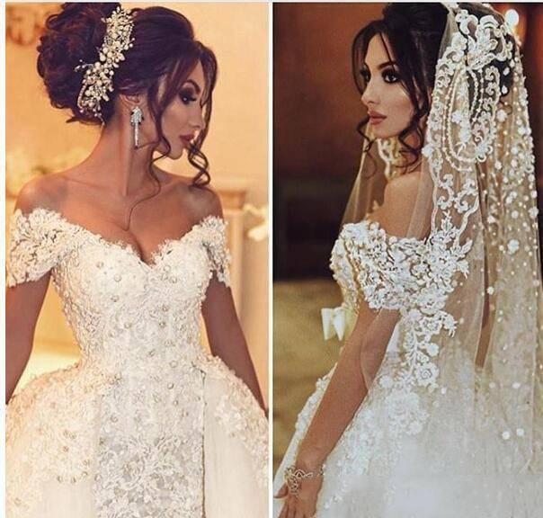 Дубай Русалка Свадебные платья со съемной юбкой женские События платье для свадьбы Жемчуг Кружева Свадебные платья Милая