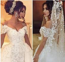 Dubaj Mermaid suknie ślubne z odpinana spódnica damskie wydarzenia sukienka na wesela perły koronkowe suknie ślubne kochanie