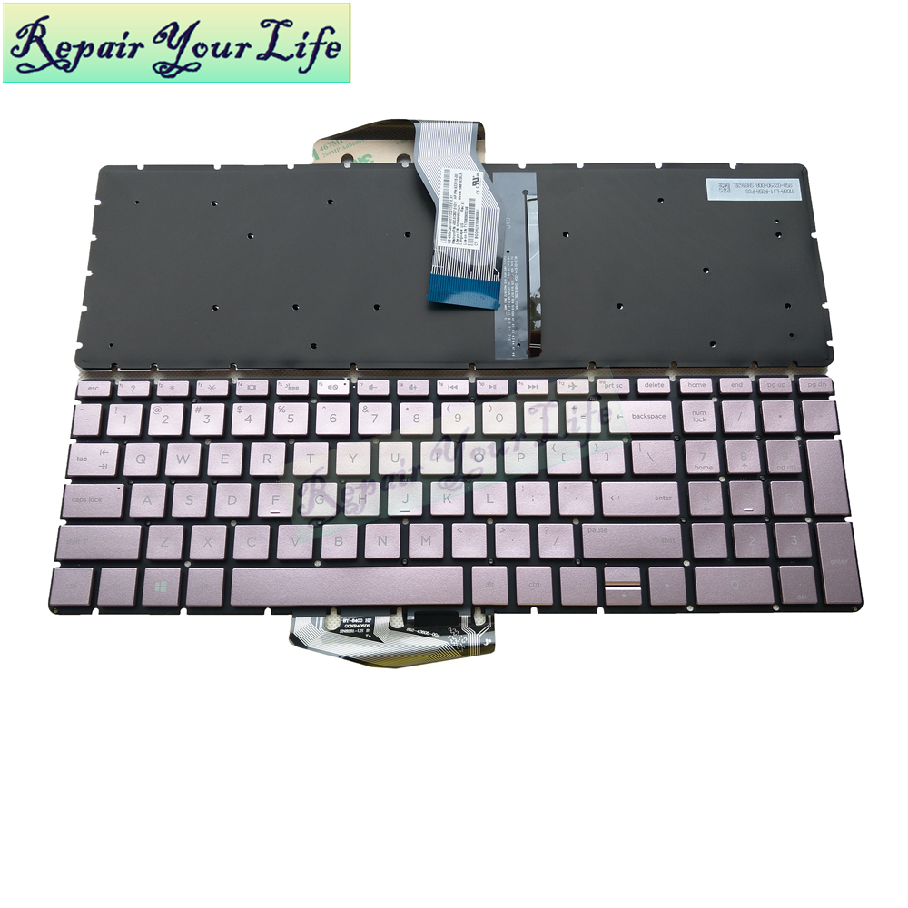 laptop <font><b>keyboard</b></font> for <font><b>HP</b></font> for ENVY X360 15M 15-BP 15-BP015 15-BS 15-BW <font><b>250</b></font> <font><b>G6</b></font> US with backlit <font><b>keyboard</b></font> Rose Gold new 933015-001 image