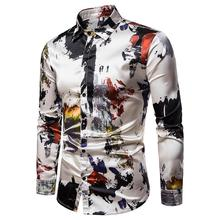 Mens Long sleeve Silk Shirts Fashion ink printing Blouse Turn-down collar New Summer