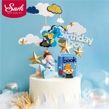 Cake-Toppers Happy-Birthday Decoration Party-Supplies for Children Kid Boy Lovely Gifts