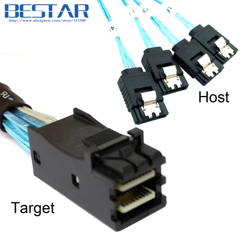 (50 pieces/lot)  Internal Mini SAS SFF-8643 Target to 4 SATA 7pin Host hard disk 6Gbps data Server Raid Cable 50cm 10 pieces lot irfp254 to 247 250v 23a