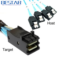 (50 pieces/lot) Internal Mini SAS SFF-8643 Target to 4 SATA 7pin Host hard disk 6Gbps data Server Raid Cable 50cm