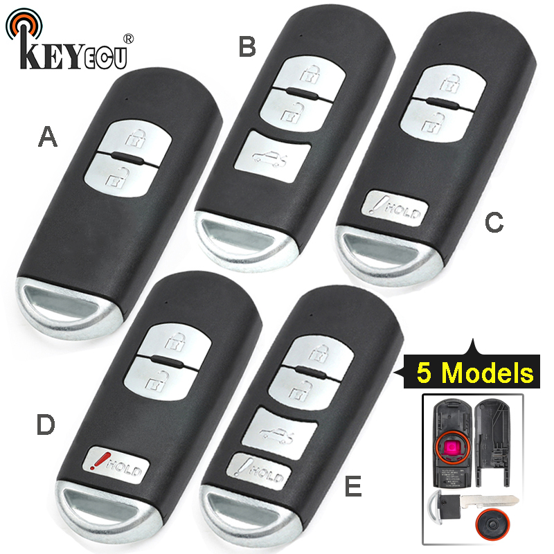 KEYECU for Mazda 3 6 CX-3 CX-5 Replacement 2/ 3/ 2+1/ 4 Button Smart Remote Car Key Shell Case Fob Red Hold with Uncut Blade image