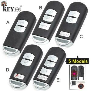 Image 1 - KEYECU pour Mazda 3 6 CX 3 remplacement de CX 5 2/ 3/ 2 + 1/ 4 bouton Smart télécommande voiture clé coque Fob prise rouge avec lame non coupée
