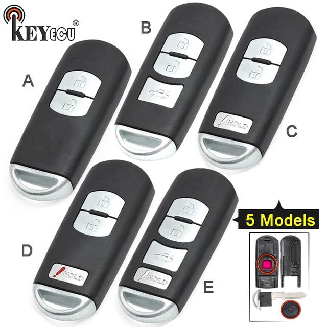 KEYECU pour Mazda 3 6 CX 3 remplacement de CX 5 2/ 3/ 2 + 1/ 4 bouton Smart télécommande voiture clé coque Fob prise rouge avec lame non coupée