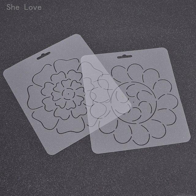 Ella amor flor patrón stencil plástico Quilting plantilla edredón ...