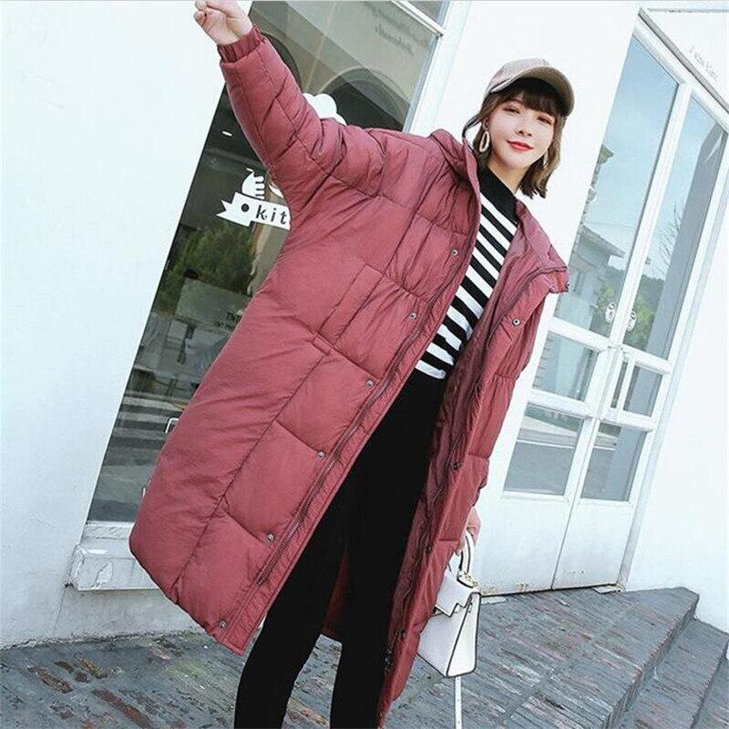 2018 Women Winter Solid Bat Sleeved Long Coath Big Size 2XL Coat Female Outerwear Hooded Parka Ladies Warm Slim Long Jacket