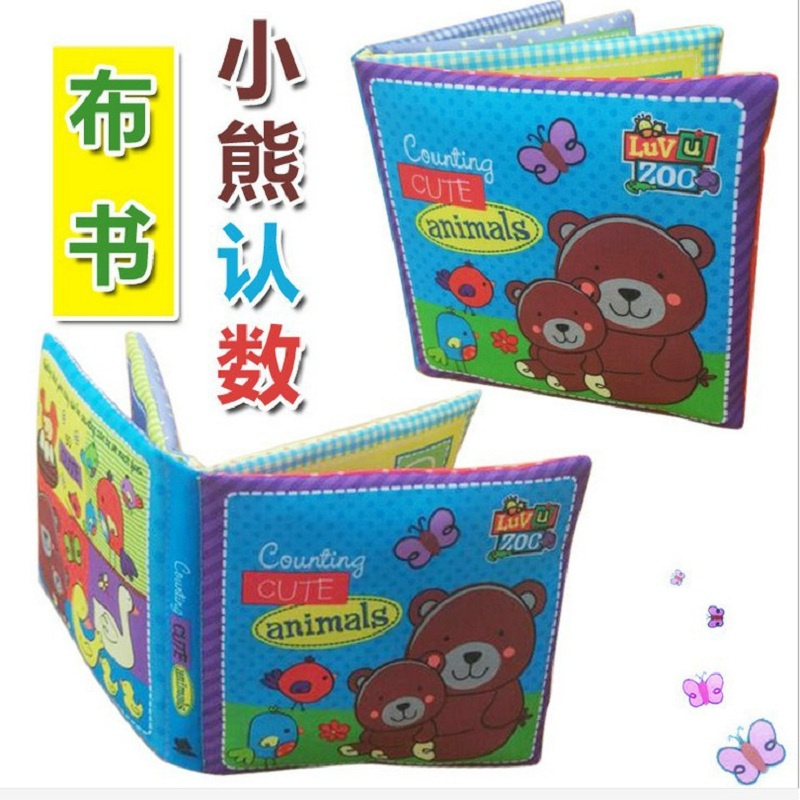 Sozzy Infant Educational Bear Cloth Book Toy Kid Toys Baby Cloth Book Infant Animal Cloth Book PP Cotton Suit 0-2 Year Baby