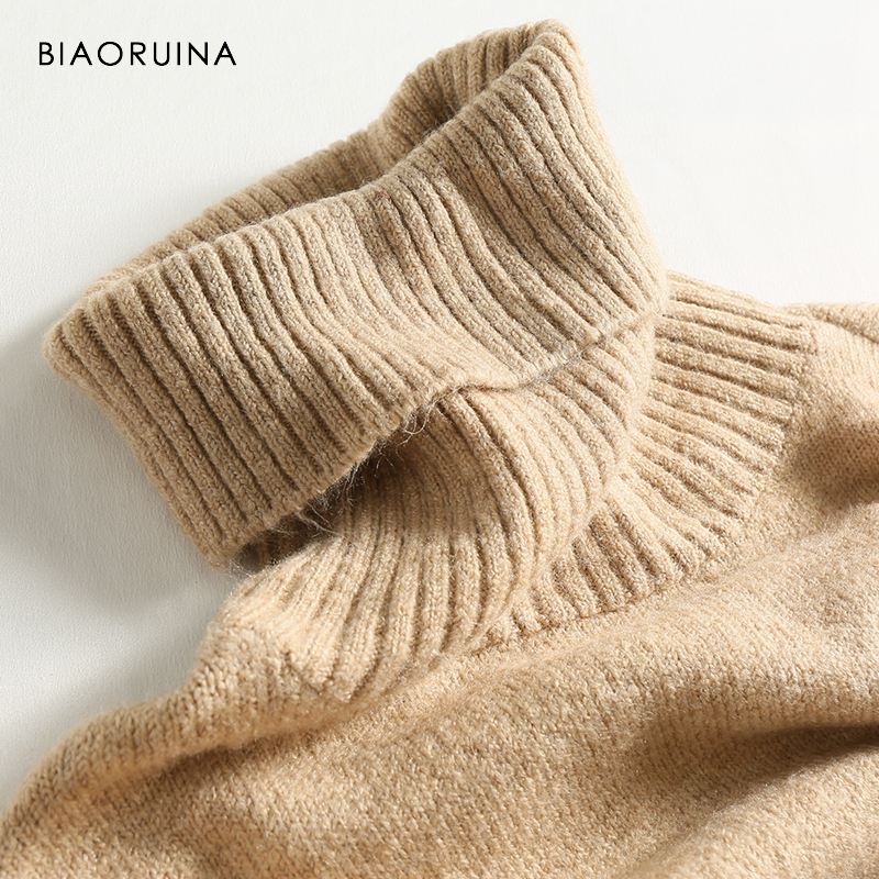 BIAORUINA Women's Fashion All-match Loose Knitted Sweater Ladies Casual Turtleneck Pullovers Bow Lace Up Warm Sweet Sweaters 4