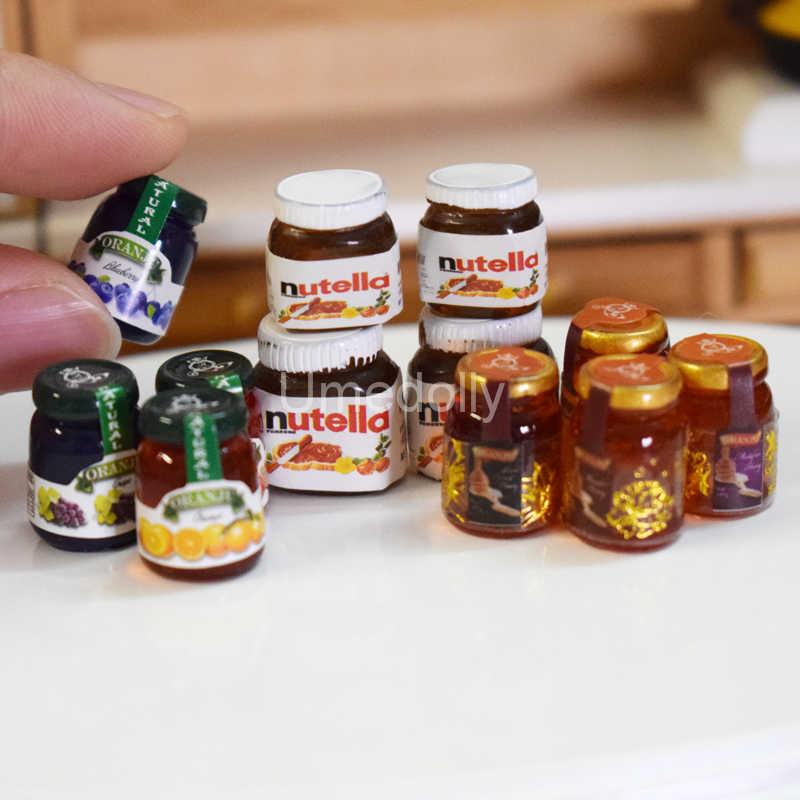 4PCS 1:12 Dollhouse Miniature อาหารมินิช็อกโกแลตซอส Jam น้ำผึ้งอาหารสำหรับ Blyth Pullip Barbi ตุ๊กตาของเล่นอุปกรณ์เสริม