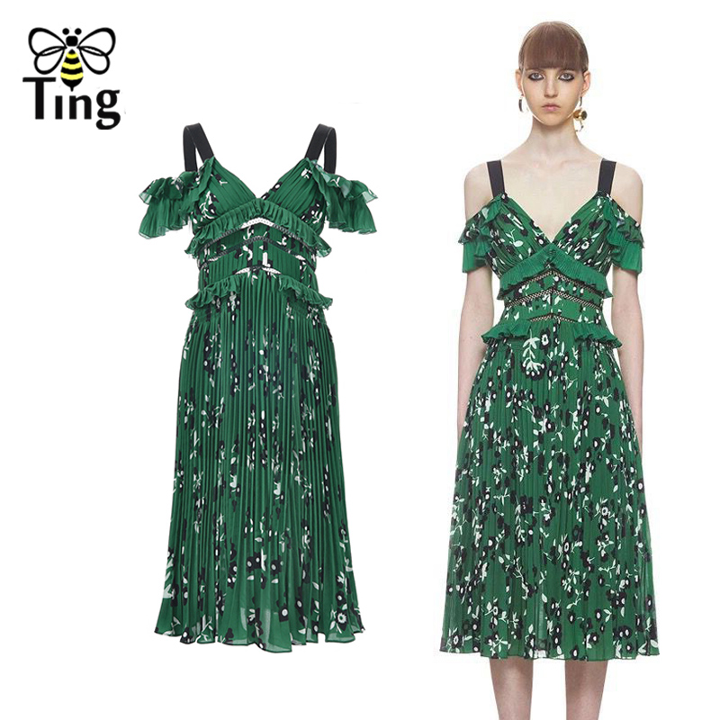 Tingfly Sexy V neck Princess Meghan Dress off the shoulder Strap Midi Pleated Dress Floral Printed Tunic Pleated Chiffon Dresses