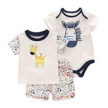 2019 summer new boy cute deer cotton print T-shirt suit baby clothes short-sleeved + romper shorts