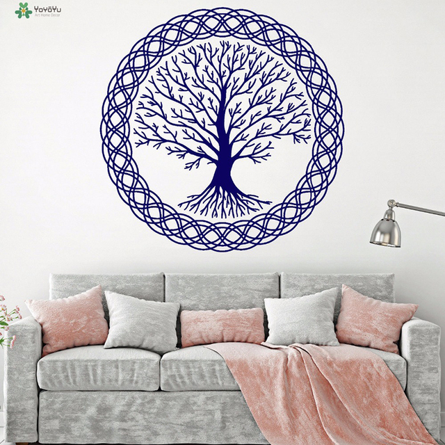 YOYOYU Vinyl Wall Decal Tree Of Life Complex Pattern Family Celtic Style  Living Room Home Decoration