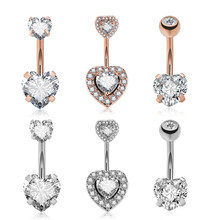 Surgical steel Navel Belly Button Ring Barbell Zircon Heart Piercing Sexy Belly Bars Belly Button Rings Belly Piercing(China)