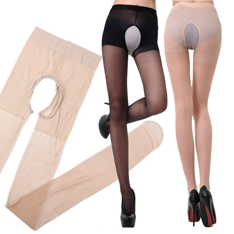 Fashion 1PC Sexy Elasticity Open Crotch Silk Stockings With Holes Women Tigthts  Pantyhose