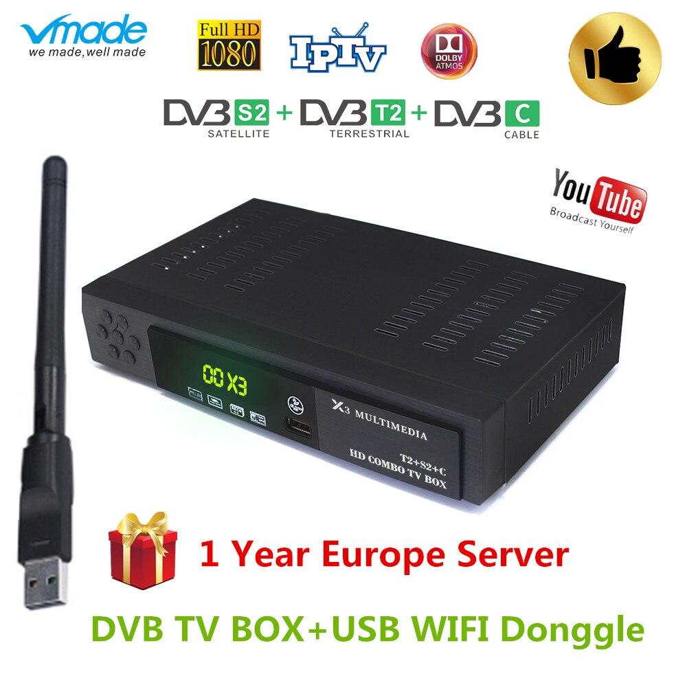 2019 Новый комбинированный ресивер DVB T2 DVB S2 DVB C Поддержка cccam powervu youtube AC3 DVB-T2 S2 C 3 в 1 с USB спутниковый приемник WiFi