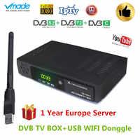 2019 nouveau récepteur combiné DVB T2 DVB S2 DVB C prise en charge cccam powervu youtube AC3 DVB-T2 S2 C 3 en 1 avec récepteur satellite WIFI USB