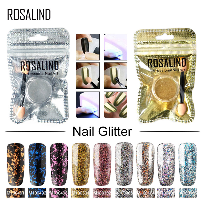 ROSALIND Nail Mirror Powder For Nail Art Polish Manicure Glitter  Decoration Chrome Pigment Spangles Sequins For Nails Glitter