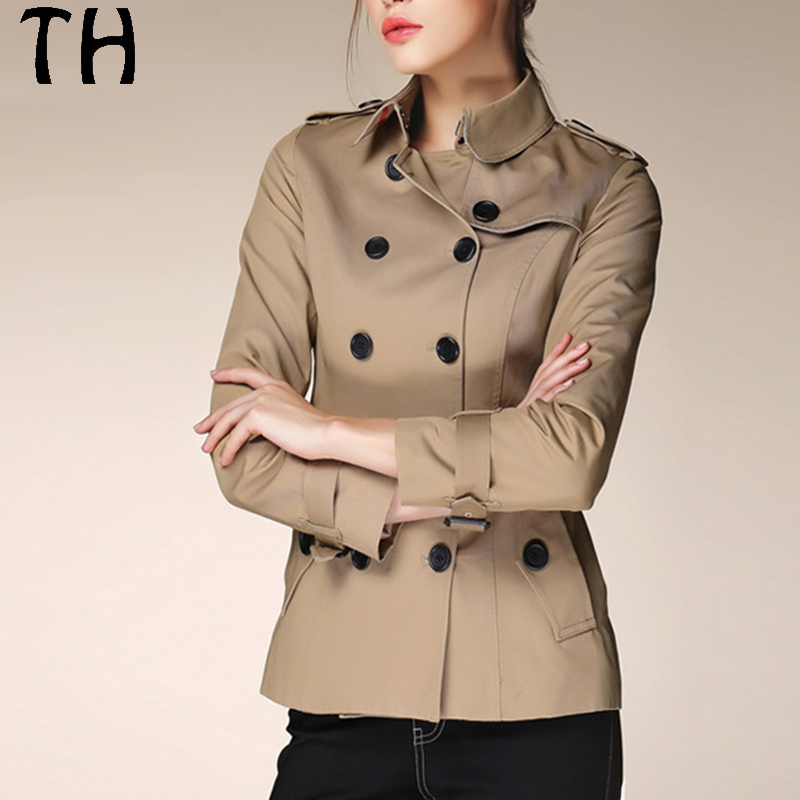 Quality 100% Cotton Women Trench Double Breasted Sashes Slim Solid Long Sleeve Casual Outerwear Woman Basic Coats #170249