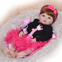 blue eyes Princess 23'' Reborn Doll Full Silicone Body smooth Hair Reborn Dolls fashion Kids Playmates Baby bath Toys Girl Gift