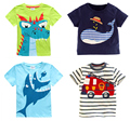 Retail Brand 2016 Children's blouse T-shirt Kids Baby boys Clothing tshirts Summer Clothes Cartoon  Dinosaur Car  free shipping