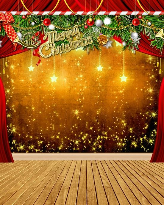 custom vinyl cloth shiny star christmas party stage photography