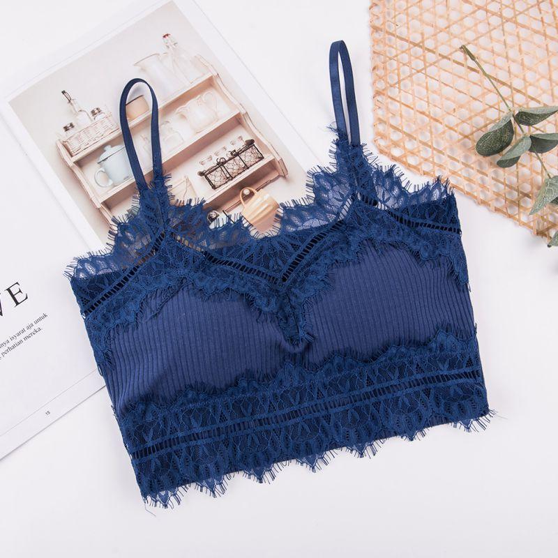 0b3ea40fb1 Women Beautiful Back Cropped Top Wireless Lace Tube Tops Camisoles Underwear  Lingerie