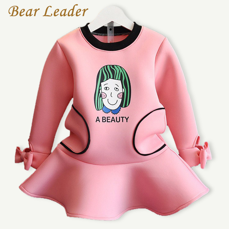 Bear Leader Girls Dress 2016Casual Style Spring Princess Dress Long-sleeve Cartoon Letter Printing Design for Baby Girls Dresses bear leader girls dress 2017 new spring
