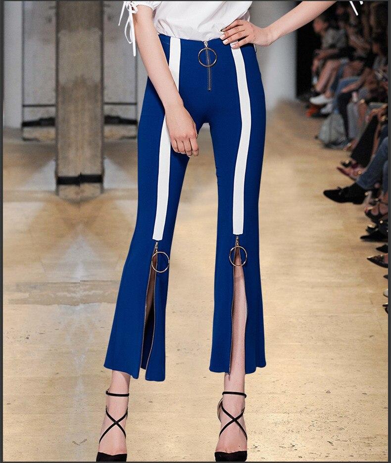 Printemps Mode Jeans Bas 2018 Voir Mousseline Élastique Pantalons Eté De Soie Pantalon Pour Femmes Orange Flare En So2129 Défilé Bleu Maigre xTxHPpEn