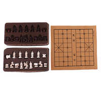 Vintage Stereoscopic Chess Folding Imitation Leather Chess Board Chinese Traditional Chess Xiangqi Handicraft Pieces Set
