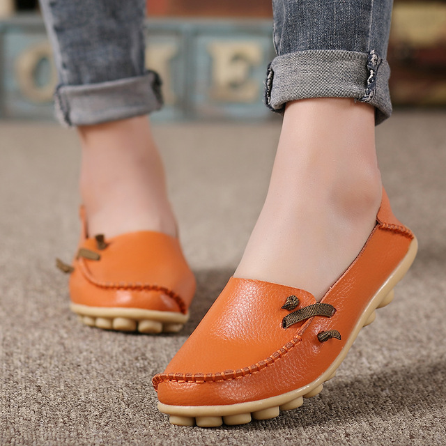 2019 Summer Women Flats Shoes Slips Soft Leather Red Flat Shoes Woman Tenis Feminino Non-Slip Casual Shoes Women Plus Size 34-44