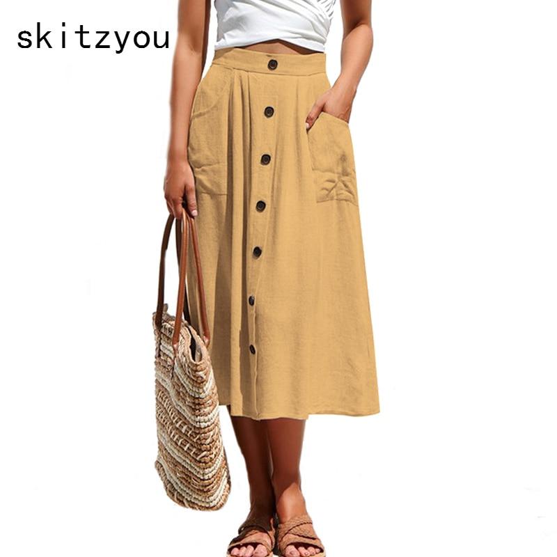 Летние юбки Для женщин Высокий эластичный пояс пляжная одежда Повседневное jupe femme уличная пикантные однотонные длинная юбка миди красный желтый розовый юбка купить на AliExpress