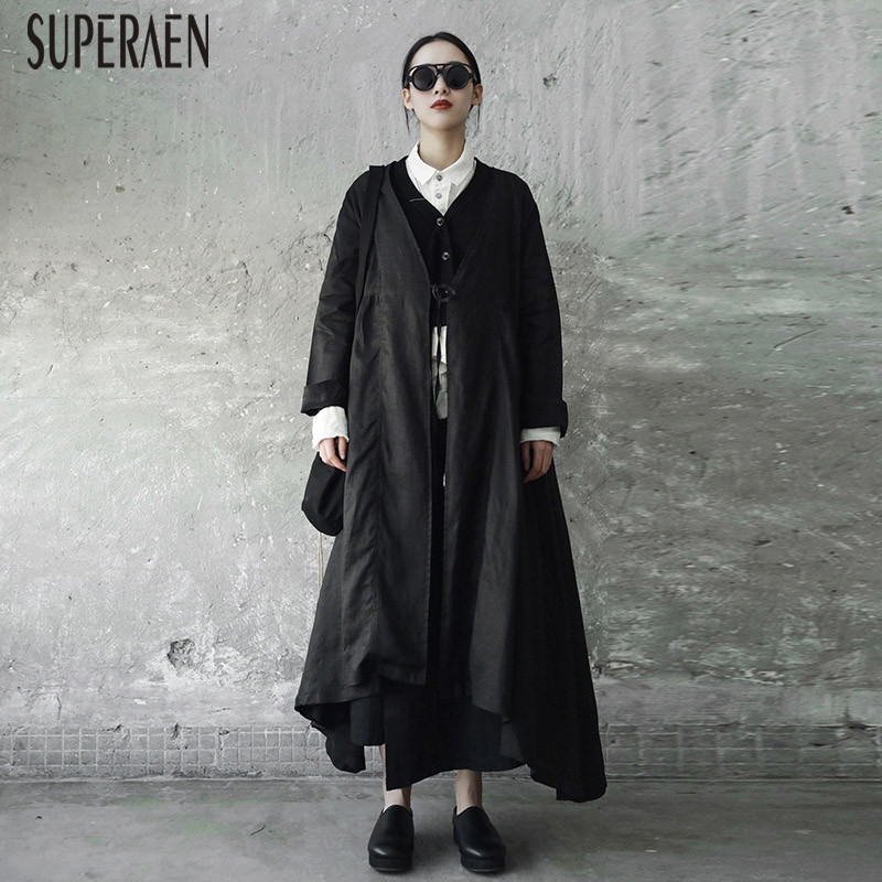 SuperAen Solid Color Fashion Cotton   Trench   Coat for Women 2018 Spring Strap Long Coat Casual Wild Loose Long Sleeve Windbreaker