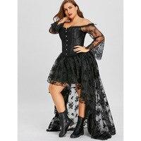 LANGSTAR 2018 New Plus Size 5XL 6XL Long Sleeve High Low Corset Dress Women Elegant Vintage