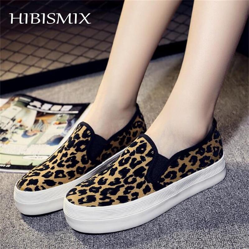 HIBISMIX Women Creepers Flat Platform Shoes Spring Autumn Women Leopard Canvas Slip On Shoes Ladies Casual Flats Mocassin 1011 Обувь