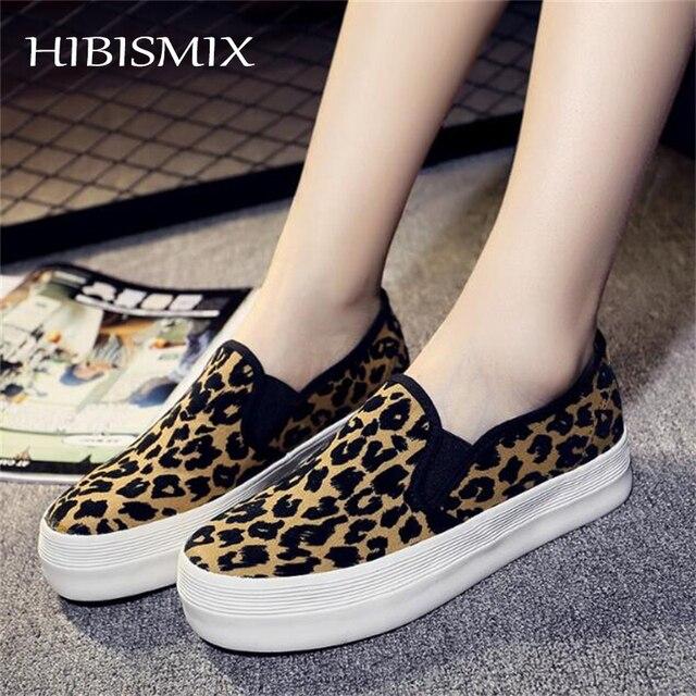01e61d2808aa HIBISMIX Women Creepers Flat Platform Shoes Spring Autumn Women Leopard  Canvas Slip On Shoes Ladies Casual