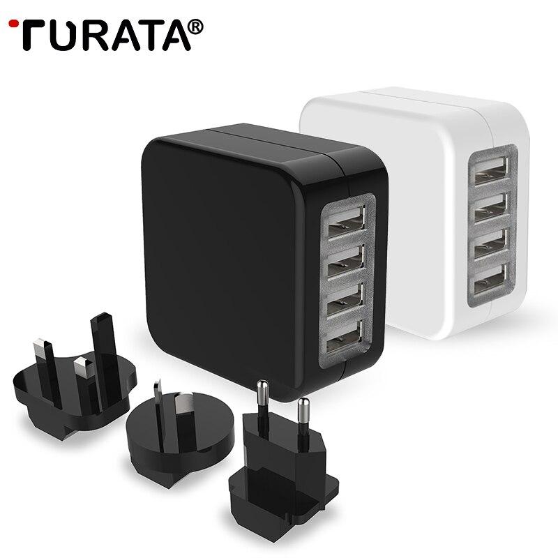 bilder für TURATA Universal 4 Ports Travel Usb-ladegerät Adapter Wand Mobile telefon Intelligente Schnelle Ladegerät für iPhone Tablet Xiaomi Red HTC SONY