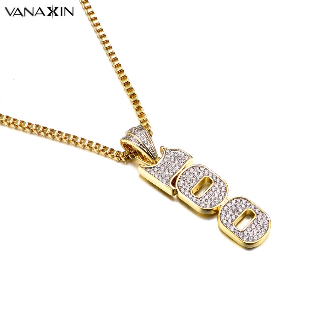 VANAXIN CZ Crystal 100 Pendant Necklace for Men Punk Hiphop Jewelry CZ Gold Color Unisex Necklace Fashion Women Accessories Gift punk style etched gold plated eagle moon pendant necklace for men