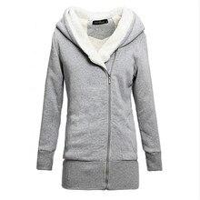 Новинка 2017 года женские Худи пальто зимнее теплое пальто из флиса на молнии верхняя одежда толстовки с капюшоном Длинная Куртка парка