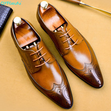QYFCIOUFU Hot Luxury Men's Dress Shoes Handmade Wedding Shoes Genuine Leather Pointed Toe Office Footwear Mans Formal Suit Shoes luxury italian genuine leather handmade men s wedding party footwear pointed toe carved man formal dress banquet shoes kud115
