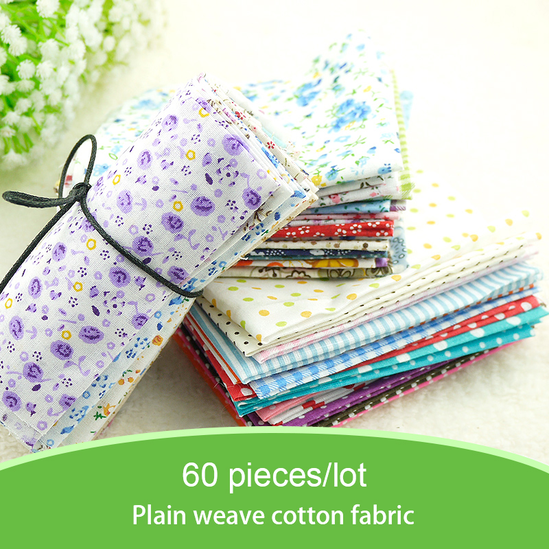 Free Shipping 60pieces 24cmx24cm Fabric Stash Cotton Fabric Charm Packs Patchwork Fabric Quilting no Repeat Design Tissue