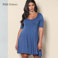 MISS Behave Plus Size Dress Women Summer 2017 Polyester Casual Solid Regular O Neck Evening Sexy