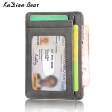 цена на KUDIAN BEAR Rfid Vintage Men Wallet Mini Credit Card Holder Business Brand Male Wallets Purse billetera hombre BID251 PM49