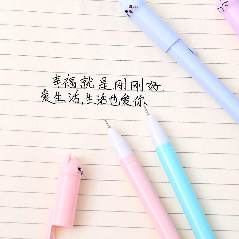 6 шт./партия, гелевая ручка Kawaii с черными чернилами и кошкой, 0,5 мм, креативные нейтральные ручки с мультяшным котом для школы, канцелярские принадлежности, подарок
