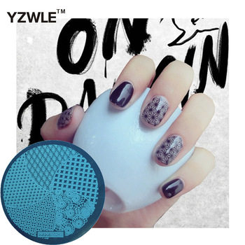 YZWLE 1 Pcs Stamping Nail Art Image Plate, 5.6cm Stainless Steel Nail Stamping Plates Template Manicure Stencil Tools (hehe-024)