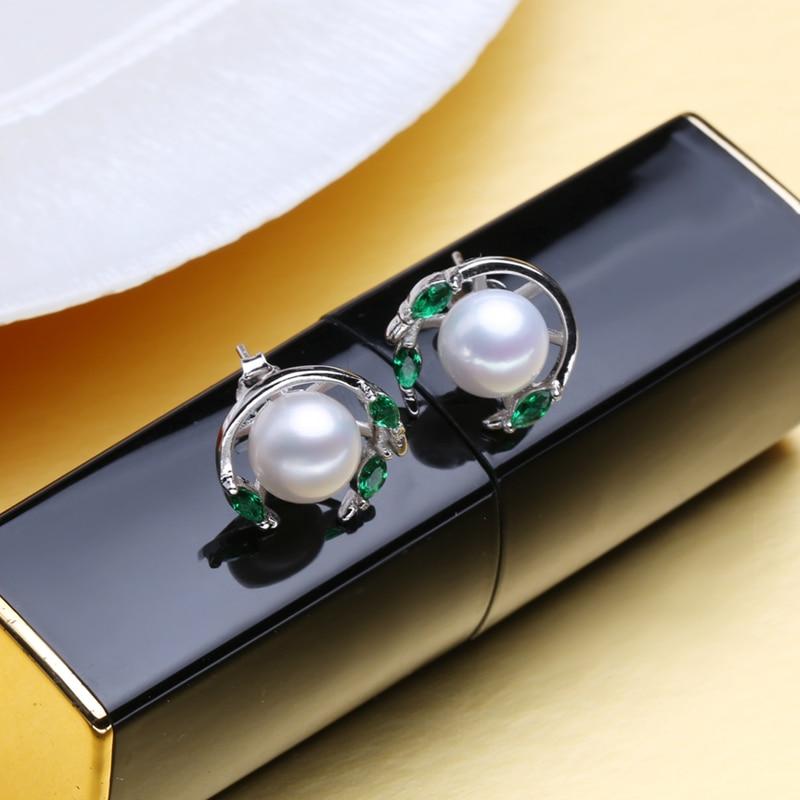 MINTHA Pendientes de perlas de esmeralda, pendientes de piedras - Joyas - foto 3